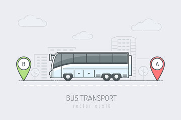 Bus on the city road driving on route labeled with A and B location markers. Vector illustration in line art color style