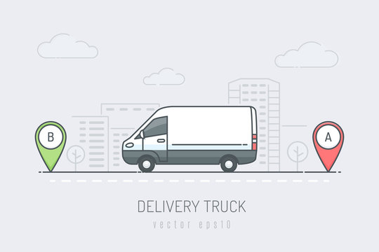 Delivery van in on the city road driving on route labeled with A and B location markers. Vector illustration in line art color style
