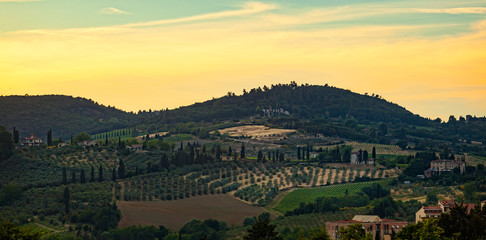 Panorama of the hills of San Gimignano, small medieval village in Tuscany, Italy.