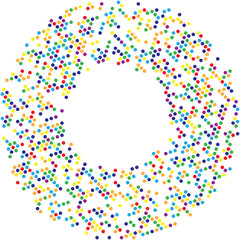 Circle with dots for Design Project.Halftone effect vector illustration. Colorful dots on white background. Golden background. Round frame design template.