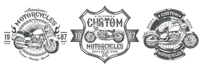 Set vector black vintage badges, emblems with a custom motorcycle. Print, template, advertising design element for the motor club, motorcycle repair shop Papier Peint