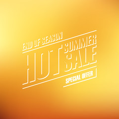 Hot Summer Sale. End of season special offer banner for business, promotion and advertising. Blurred background. Vector illustration.