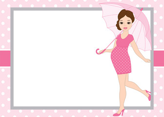 1038479 Vector Card Template with a Pregnant Woman on Polka Dot Background. Vector Baby Girl.