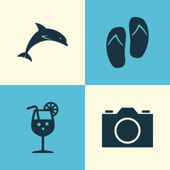 Sun Icons Set. Collection Of Mammal, Video, Vitamin And Other Elements. Also Includes Symbols Such As Drink, Video, Juice.