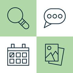 Network Icons Set. Collection Of Message Bubble, Calendar, Landscape Photo Elements. Also Includes Symbols Such As Speech, Image, Bubble.