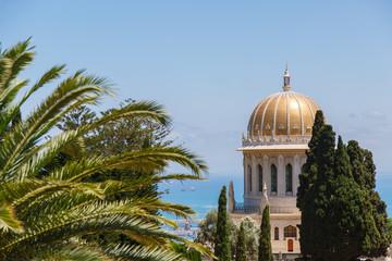 Bahai Garden in Haifa, Israel. Beautiful geometric garden. Dome behind a tree