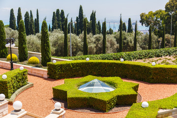 Bahai Garden in Haifa, Israel. Beautiful geometric garden