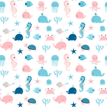 Cute summer seamless pattern with sea animals in blue and pink colors for kids textile, clothing and package design