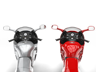 Modern metallic silver and red motorbikes - FPS view