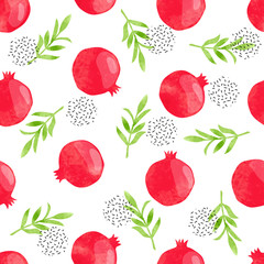 Pomegranate pattern. Seamless vector fruit background.