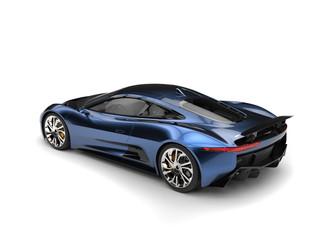 Beautiful metallic blue elegant sports car - top down back view