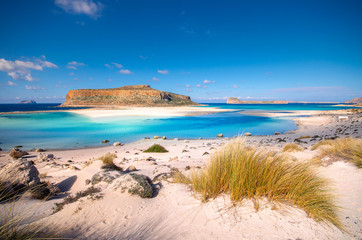 Amazing panorama of Balos Lagoon with magical turquoise waters, lagoons, tropical beaches of pure white sand and Gramvousa island on Crete, Greece Wall mural