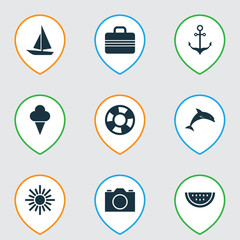 Summer Icons Set. Collection Of Ship, Baggage, Lifesaver And Other Elements. Also Includes Symbols Such As Photo, Camera, Melon.