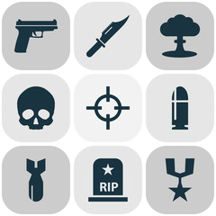 Battle Icons Set. Collection Of Rocket, Cranium, Weapons And Other Elements. Also Includes Symbols Such As Shot, Grave, Weapons.