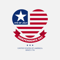 Clean flat american independence day background with heart icon, for greeting card