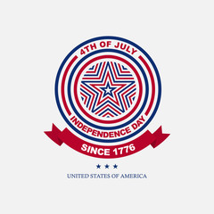 Clean flat american independence day emblem with star icon, for greeting card