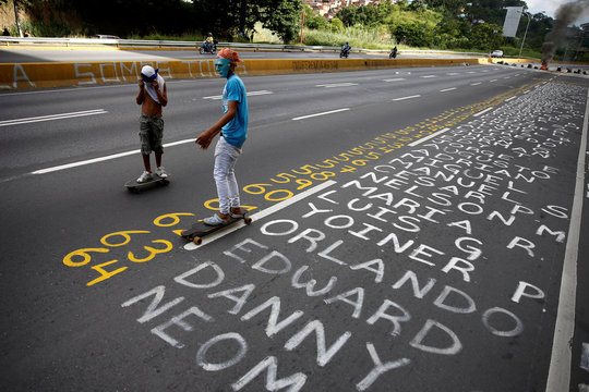 Demonstrators roll on skateboards next to a list of the victims of the violence during protests against Venezuela's president Nicolas Maduro government in Caracas