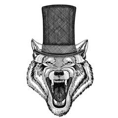 Wolf Dog Wild animal wearing cylinder top hat