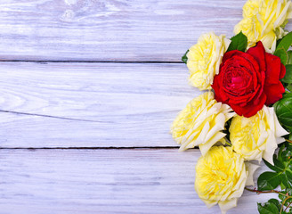 bouquet of blooming yellow and red roses
