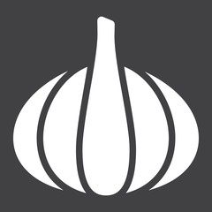 Garlic solid icon, vegetable and diet, vector graphics, a glyph pattern on a black background, eps 10.