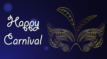 Silver carnival mask with feathers. Beautiful concept design with hand drawn lettering for poster, greeting card, party invitation, banner or flyer. Vector Illustration.
