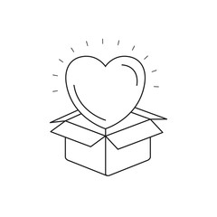 silhouette heart coming out of cardboard box vector illustration