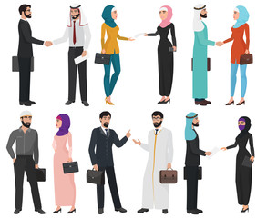 Muslim Arabic business people isolated collection.