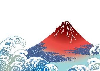 日本画  富士山  白