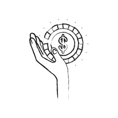 blurred silhouette left hand holding in palm a coin with dollar symbol inside vector illustration