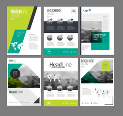 Company flyer vector illustration set