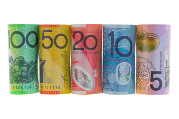 Rolls of Australia Banknote. Different Australian dollars money isolated on white background.
