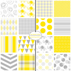 Yellow & Grey Baby Paper. File includes swirl, elephant, gingham, plaid, polka dot, argyle, stripe, bunting, chevron, circle and bubble patterns.