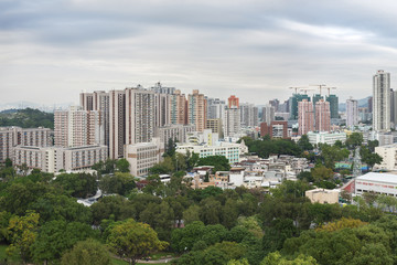 Panorama of Yuen Long District, Hong Kong city