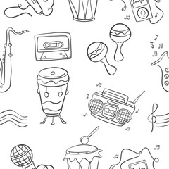 Music doodle style hand draw vector art