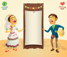 Brazilian June Party happy hick couple holding blank thematic board - Made in Brazil - Made with love - High quality detailed vector cartoon for june party themes.