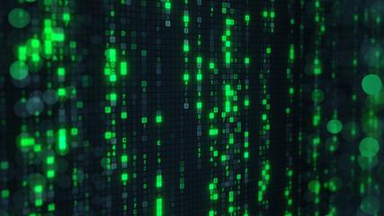 Green matrix rain of digital HEX code on computer screen