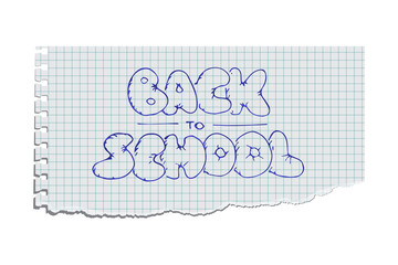 Torn copybook sheet with Back to school text. Vector illustration.