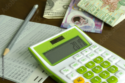 Calculator Pencil Bank Account Foreign Money Concept Savings Plan Banking And