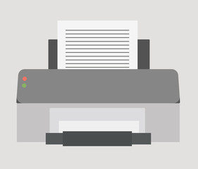 Vector illustration. Flat icon of computer printer.