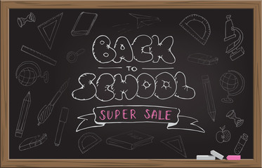 Black school blackboard with chalk hand drawn Back to School Super Sale text. Vector illustration.