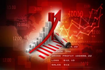 3d rendering Stock market online business concept. business Graph