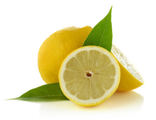 Lemons on white