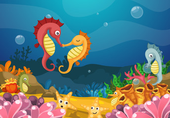 Illustration of sea underwater background
