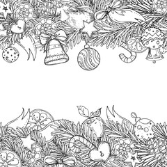 Pattern for coloring book for adult and children. New Year and Christmas hand drawn decorative elements. vector eps 8.