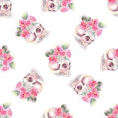 roses skull pattern