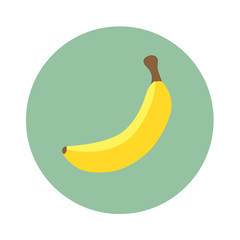 One yellow banana in turquoise circle. Flat design. Vector