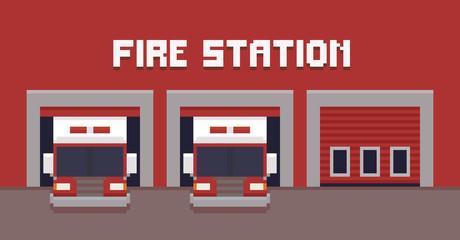 Pixel Art Fire Station