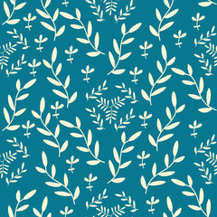 Vector seamless pattern with hand drawn floral elements