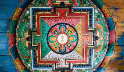 Beautiful painting on ceiling, inside wall of Chain Bridge, Paro, Bhutan