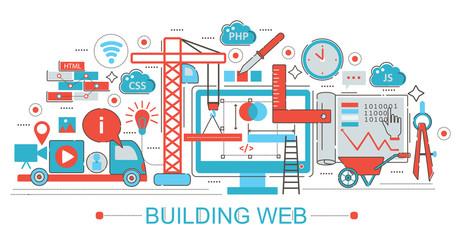 Modern Flat thin Line design Website building progress concept for web banner websites, presentation, flyer and poster.